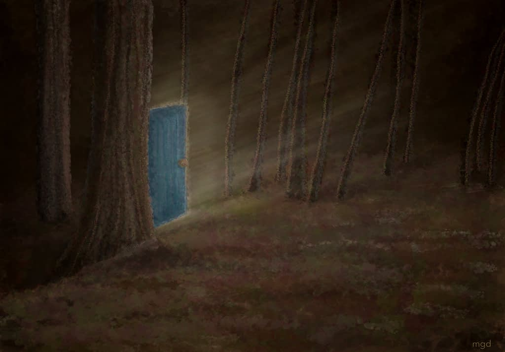 Digital art, See the forest for the door